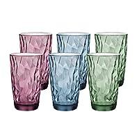 Bormiolirocco 波米欧利.罗克 意大利进口钻石高杯炫彩六只装玻璃杯470ml 3.502567S6(2紫+2蓝+2绿)