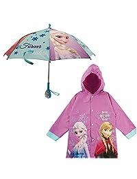 Disney Girls' Frozen Purple Slicker and Umbrella Set