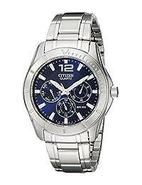 CITIZEN 男式不锈钢手表蓝色表盘