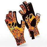 KastKing Sol Armis 无指钓鱼手套 - SPF 50 *手套,适用于划船、皮划艇、远足、跑步、骑自行车、驾驶 - 男式和女式户外无指手套 - 透气氨纶面料 S-XL