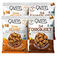 Quinn Snacks Peanut Butter Filled Pretzels Variety Pack, 2 Flavors 6.5 Ounce Bags, 4 Count