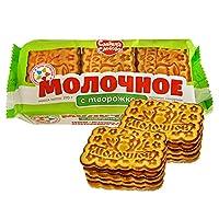 甜蜜农庄 俄罗斯进口 饼干 270g*4袋 休闲零食 (奶渣饼干)