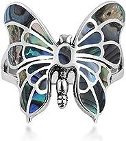 AeraVida 異域風情優雅蝴蝶鮑魚殼鑲嵌 925 純銀戒指