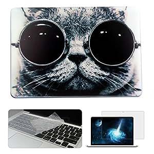 Rinbers 时尚艺术设计印花磨砂硬壳塑料保护扣合式保护套适用于 Apple MacBook 笔记本电脑 MacBook Pro 13 with CD-ROM A1278 Cute Cat 3in1 Bundle