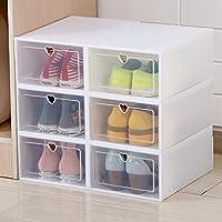 抽屉式透明可视塑料鞋盒鞋子收纳神器鞋子收纳盒鞋盒日本鞋箱翻盖鞋子收纳盒 (【6个装】白色心形女款 31x21.5x12.5cm)