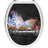 Pixxp/3D WCS 3873 32x40 Impressive Sydney Opera House Lights 马桶盖贴纸,WC,马桶盖,Gläzendes 材质 黑色/白色,40 x 32 厘米