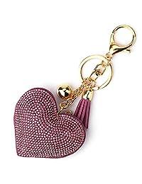 Elesa Miracle 女孩 爱心 流苏 钥匙扣 钱包包饰品 手提包配件 汽车钥匙链