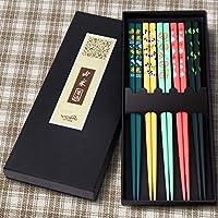 5 双优质可重复使用筷子套装 - 天然木材日本筷子、轻便易用的筷子及盒子适用于苏希、面条和其他亚洲食物 Colorful Animals
