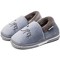 回力 儿童棉拖冬季保暖男女卡通棉鞋 全包家居儿童棉拖鞋 (32-33(内长21cm)), 男童蓝灰)