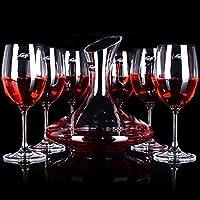 EDELITA 意德丽塔 水晶无铅玻璃波尔多红酒杯葡萄酒杯高脚杯、醒酒器(7件套) (380ml 水晶红酒杯6支装、醒酒器)