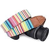 狼图案条纹帆布 相机颈带 适用于所有 DSLR/SLR/男士/女士 average Multicolored Stripe Pattern