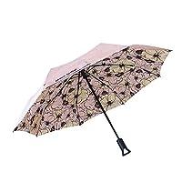 Make Shine ClipGo 遮阳和雨旅行自动雨伞,粉红色花朵,紫外线防护