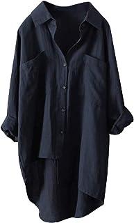 TrendyCosmo 女式口袋系扣衬衫 V 领休闲上衣卷起长袖棉质衬衫 S-4XL