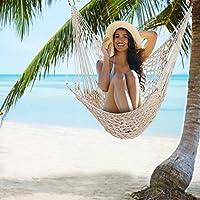 iMounTEK 悬挂软纺菱形编织图案棉绳吊床椅秋千带木撑杆,承重 220 磅