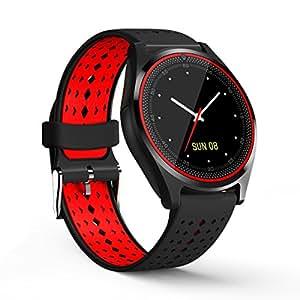 V9 智能手表,带 SIM 卡槽,相机,硅胶表带和蓝牙 4.0 适用于 AndroidDO-V9 红色,黑色