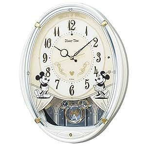 SEIKO 精工 指针表盘光感电波音乐挂钟 米老鼠 6种旋律 米奇&米妮 Disney Time 白色珍珠漆 FW579W