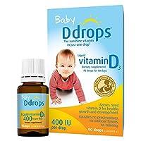 Ddrops 1072834 400 IU嬰兒液態維生素D3滴劑,0.08液體盎司/2.5ml(2件)