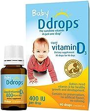 Ddrops 嬰兒維生素D3滴劑 400IU 90滴 2.5mL (2件裝)