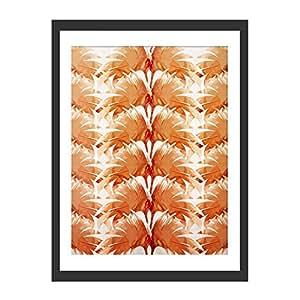 绿 Lili 热带叶子 橙色 - 正面带框印刷品 带安装黑色 黑色 80 x 60 x 3 cm OS0013-6080