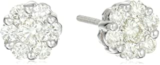 [Amazon Collection] Amazon Collection 14K金 白金 钻石 螺柱耳钉花朵图案 (0.7ct I-J颜色、SI2-I1透明度) FD924-075-IJ