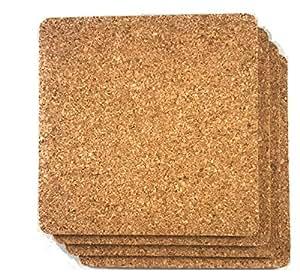 """软木饮料杯垫 - 空白可重复使用吸收剂 环保 DIY 瓷砖工艺板 - 保护家具免受损坏和水环餐厅咖啡馆用品 棕褐色 1/8"""" Thick Square 30 Pack unknown"""