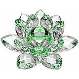 Amlong 水晶水线反射水晶莲花与礼盒,绿色 绿色 4-Inch na