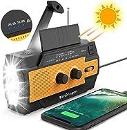 [2020 新版本] 天气收音机,适用于紧急太阳能手动曲柄便携式 AM/FM 收音机,4000mAh 大容量移动电源,WinDrogon 强力手电筒,SOS 报警,阅读灯和运动检测