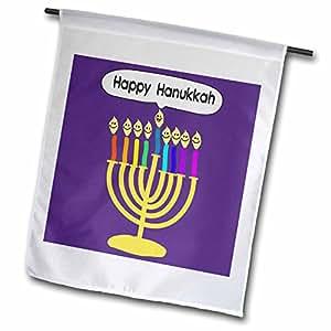 inspirationzstore JUDAICA–紫色 HAPPY hanukkah 笑脸烛台–可爱 channukia 卡通适用于 chanukkah–光明犹太 menora–旗帜 12 x 18 inch Garden Flag