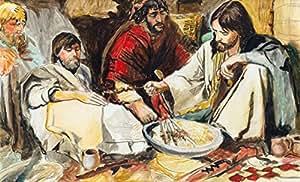 """""""Jesus & The Disciples"""" - 经济实惠! 原创签名艺术打印 - 可直接悬挂! 完美的礼物! 有多种尺寸可选! 仅可选择装裱或哑光! 便宜的礼物或低成本的家居装饰! 低价! 5"""" x 7"""" JD"""
