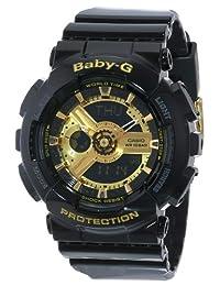 Casio 卡西欧 女式 BA-110-1ACR 婴儿 G 金色调模拟数字显示屏和黑色树脂表带手表