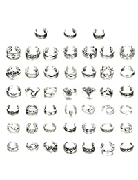 ORAZIO 45 件女士趾环男士开口指环复古花结中长指环套装脚部首饰可调 银色调