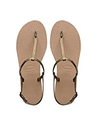 Havaianas巴西2018新品YOU MAXI人字拖女皮质凉鞋银灰拖鞋哈瓦那
