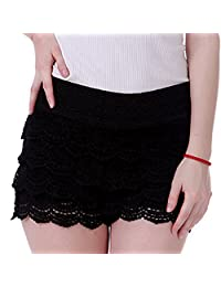 HDE 女式蕾丝短裤修身扇形下摆钩针迷你热裤
