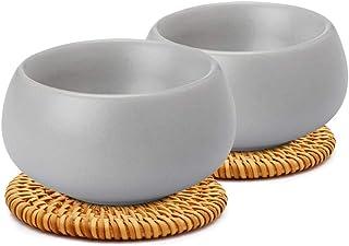 ZENS 哑光面光滑纹理陶瓷茶壶 800ml/28oz,带天然二合一手柄、陶瓷卵石形状盖和不锈钢过滤,适用于花叶茶杯杯. Gray teacup set A5500485-AZENS