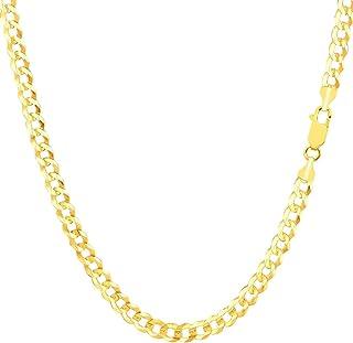 The Diamond Deal 男式纯色 14K 黄金或白金 3.6 毫米闪亮古巴舒适锁链项链,适合男士吊坠或手链,带龙虾扣(7 英寸,18 英寸,20 英寸,22 英寸,24 英寸或 30 英寸)