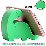 高腰动物桌面手机支架,更新恐龙条纹硅胶办公电话支架,创意手机平板电脑支架,尺寸:3.30 cm X 7.11 cm X 7.11 cm17-1-Dinosaur Phone Set Navy green 绿色
