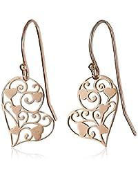 Amazon Collection 美国亚马逊自有品牌 18k 玫瑰色镀金纯银镂空雕刻心形耳饰 女士耳坠