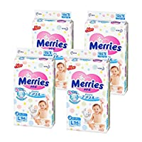 (跨境自营)(包税) Merries花王 妙而舒 纸尿裤大号L54片*4 (9-14kg) 日本原装进口