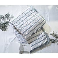 Jeanpop简璞 日式良品寝具 泡泡纱水洗棉夏被 空调被 纯棉花内胆 婴幼儿可用 国家A类品质 单人床适用(150*200cm)浅蓝条纹