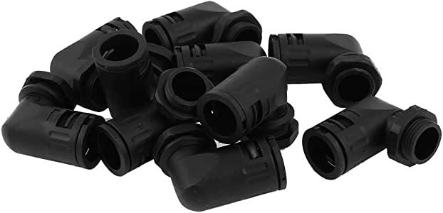 Uxcell a14070400ux0177 AD15.8 PG11 Plastic Corrugated Tube Elbow 90 Degree Connector (10 Piece)
