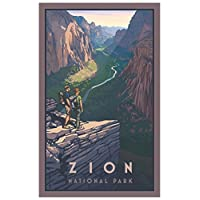西北艺术 Mall Zion Canyon Zion National Park 镶框艺术印刷品,由 Paul Leighton 创作。 12x18 inch PB-4669 B