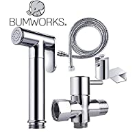 Bumworks 布尿片卫生间喷雾器套件 - 黄铜镀铬手持式球拍 带金属软管,T-Valve(7/8 英寸)和安装夹附件适配器(3 向 T 形阀)