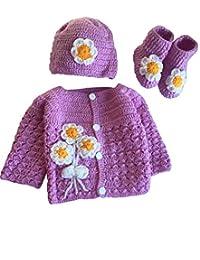 手工制作 3 件套针织玉兰花紫色婴儿钩针套装 - 新生儿羊毛毛衣套装 - 婴儿和帽子