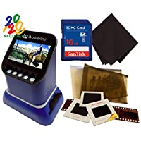 Wolverine F2D 土星数字胶片和幻灯片扫描仪 - 转换 120 中型格式,127 张胶片,微细纤维,35 毫米的负物和幻灯片转换为数字 JPEG - 4.3 英寸 LCD 带 HDMI 输出,16 GB SD 卡和 Z-Cloth (蓝色)