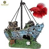 Sunken Wreck 鱼水族箱装饰品 - 为您的水箱增添质朴和复古外观 - 鱼缸空间,*环境 - 耐用树脂材料 - 水族箱或家居装饰
