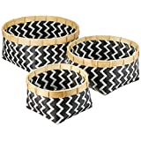 Relaxdays 储物篮 3 件套,所有用途,竹子,防水,可堆叠,自然,柳条外观,黑白色 黑白色 Round 10021497_186