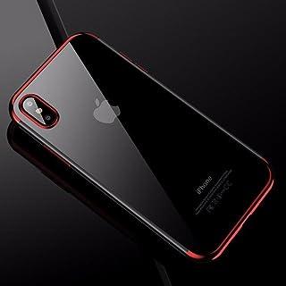 cafele 软 TPU 保护套适用于 iphone X 手机壳超薄透明镀层 SHINING 保护套适用于 iphone X 混合硅胶 红色