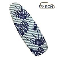 Ezy 铁制加垫熨衣板套厚垫,延长您的熨烫时间,热反射适合标准和大板,15英寸(约38.1厘米)x 54英寸(约137.2厘米)优质重型盖和垫子 Hamptons Style