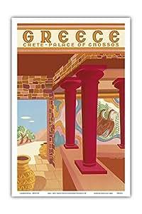 """太平洋岛屿艺术希腊 - Crete - Cnossos 宫殿 (Knossos) - 复古世界旅游海报,Helen Perakis-Theocharis 创作,c.1949 - 艺术大师印刷 12"""" x 18"""" PRTB4514"""