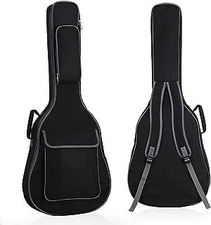原声吉他包吉他包 41 英寸防水软垫琴袋双可调节肩带,黑色